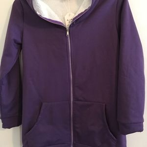Purple Sherpa-Lined Hooded Zip Jacket